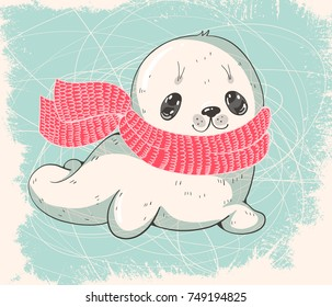Winter illustration with a cute baby seal in a warm scarf.  Vector
