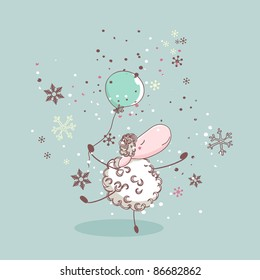 winter illustration with dancing sheep