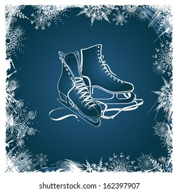 Winter illustration with figure skates framed by snowflakes