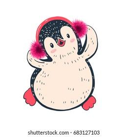 Winter illustration with funny cartoon penguin in headphones. Hand-drawn illustration. Vector.