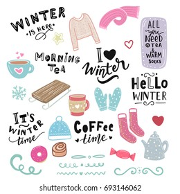 Winter illustration and hand lettering phrase morning tea, hello winter, coffee time, for stickers, print, textile, stationary, t-shirt, bag