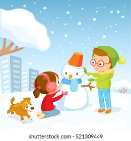 Winter illustration with kids and snowman