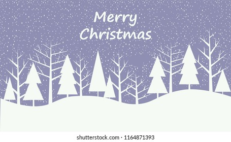 Winter illustration with snowflakes and trees. Background for winter, New Year and Christmas with place for text.