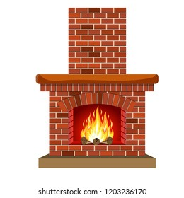 Winter interior bonfire. Classic fireplace made of red bricks, bright burning flame and smoldering logs inside. Home fireplace for comfort and relaxation. Vector illustration in flat style