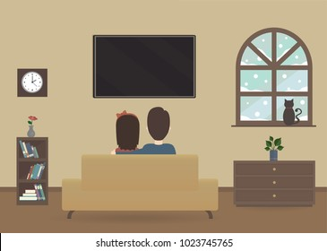 Winter interior of a house illustration. Couple watching television screen in their living room. Cat in front of snowy window vectors. Back view of people watching tv show.
