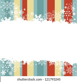 Winter invitation postcard with snowflakes and grungy empty  place for text
