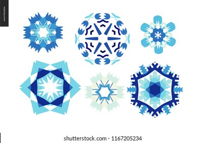 Winter kaleidoscopic patterns - set of floral snowflakes