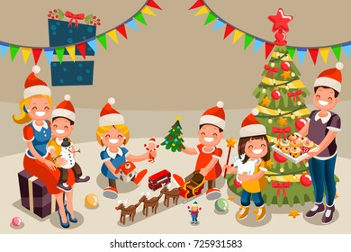 winter family christmas party night kids stock vector royalty free