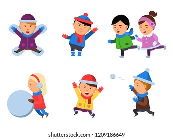Winter kids clothes. Characters playing games in action poses cheering collection smile people snow boots cartoon flat mascots isolated. Happy boy, girl winter vacation, happiness holiday illustration