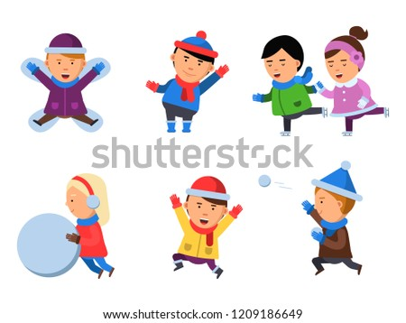 9044f9e1129 Winter kids clothes. Characters playing games in action poses cheering  collection smile people snow boots cartoon flat mascots isolated. Happy boy