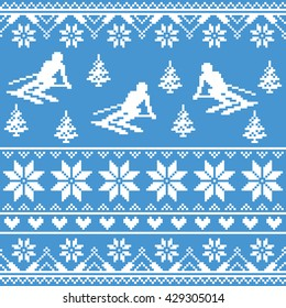 Winter knit pattern - man skiing on blue background