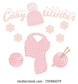 Winter knitted beanie hat and scarf in pink color