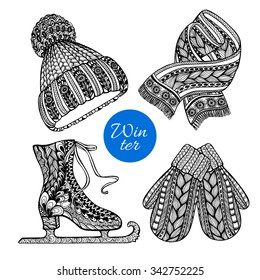 Winter knitted  fashion accessories pictograms of hat mittens and scarf black doodle style abstract vector isolated illustration