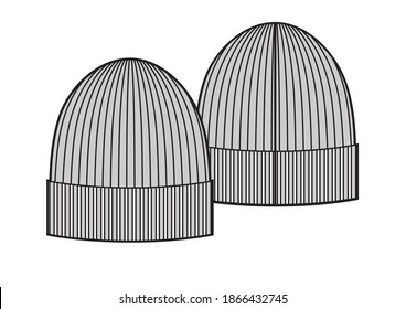 Winter knitted simple hat, sketch style vector illustrations isolated on white background. Vector template.