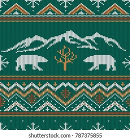 Winter knitted woolen pattern with polar bears on a background of snow-capped mountains