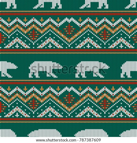 Winter Knitted Woolen Pattern Polar Bears Stock Vector Royalty Free