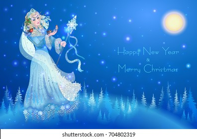 Winter Lady in the crown and decorated with a fur coat holding a staff. In her hand sitting birds. Happy new year creative greeting card design.