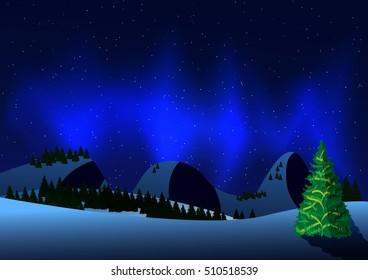 Winter landscape with Aurora light