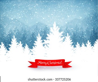Winter landscape background with falling snow, spruce forest silhouette and red ribbon banner.