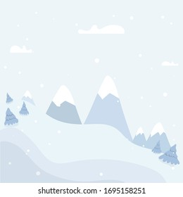 Winter Landscape Background with fir-trees and mountain. Stock vector illustration in flat design for Invitation, web banner, greetings card, social media and other winter related occasion.