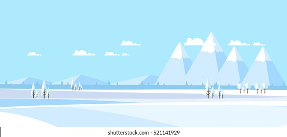 Winter Landscape Background.  Flat Vector Illustration