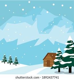 Winter landscape background. Natural scenery - Vector illustration