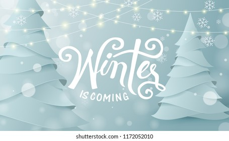 Winter landscape background with paper art and craft style.Glowing lights for Xmas Holiday.Winter Calligraphy design.Vector illustration template.greeting cards.