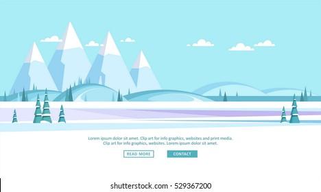 Winter landscape background. Vector illustration.
