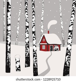 Winter landscape with birches, cozy warm cabin and firewood. Hand drawn vector illustration.