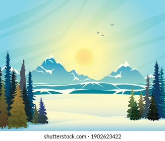 Winter landscape. Blue mountains with snow and green forest on a blue sky with sunset. Vector wild nature illustration.