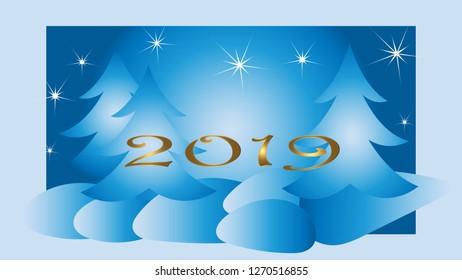 Winter landscape card in blue. White stars golden text 2019.
