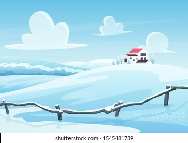 Winter landscape cartoon vector illustration. Houses on snowy hill. Rural area in cold day. Frosty nature view. Countryside in wintertime. New year and christmas card design. Seasonal background