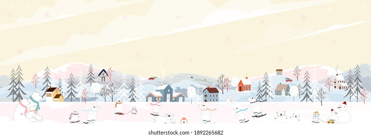 Winter landscape, Celebrating Christmas and new year in village at night with happy polar bear playing playing ice skates in the park ,Vector of horizontal banner winter wonderland in countryside
