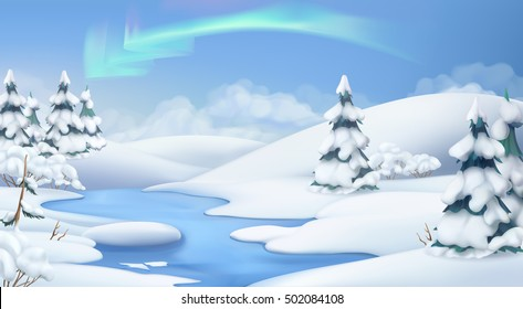 Winter landscape. Christmas background. 3d vector illustration