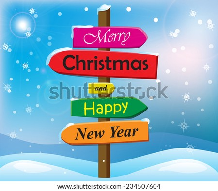 winter landscape christmas congratulations signs stock vector