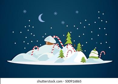 Winter landscape Christmas new year trees/licorice sticks/house Flat