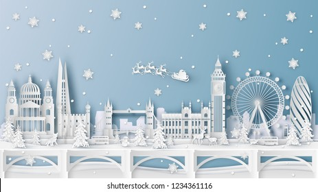 Winter landscape and Christmas season with the world famous architecture in London, England. paper cut and craft design. vector, illustration.