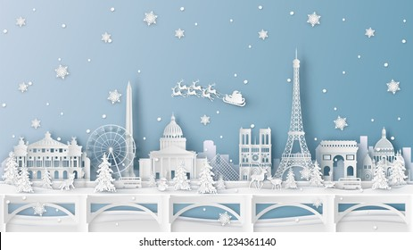 Winter landscape and Christmas season with the world famous architecture in Paris, France. paper cut and craft design. vector, illustration.