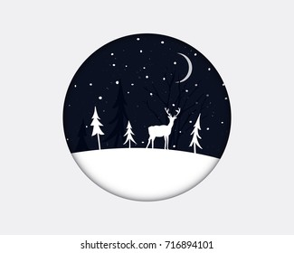 Winter landscape with christmas trees and a deer standing on the white snow at night in round frame. Papercut illustration