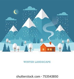 Winter landscape with country house in the woods and mountains. Nature night time scene.