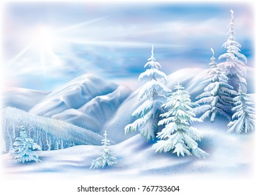 Winter landscape with covered snow fir trees. Vector illustration