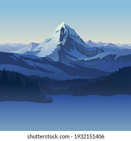 Winter landscape created by imagination in the format of vector graphics. A scene of snowy mountains and forests against the backdrop of the morning sky.