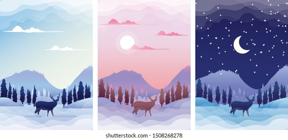 Winter Landscape with deer silhouette at sunrise, sunset and night. Winter Season banners set template vector illustration.