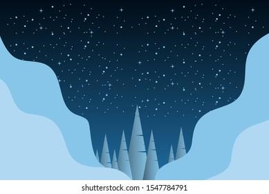 Winter landscape design template. Vector illustration
