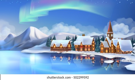 Winter landscape. Festive Christmas decorations. New Year background. 3d vector illustration