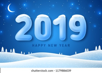 Winter landscape with fir trees in snow and 3d numbers 2019 for Happy New Year and Merry Christmas Design. Vector illustration. Night in forest with stars and crescent