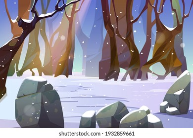 Winter landscape of forest glade with snow and bare trees. Scene of jungle, garden or natural park at snowy weather. Vector cartoon illustration of woods with stones and tree trunks