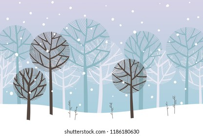 Winter landscape, forest under snowfall.