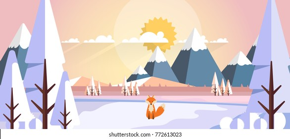 Winter Landscape with Fox in Flat Style Illustartion