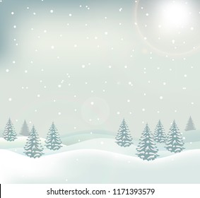 Winter landscape with frosty trees, snowy forest and hills in the sunny morning. Tranquil winter nature in sunlight with falling snow. Vector illustration